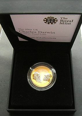 Elizabeth II 2009 Charles Darwin Silver Proof Two Pounds with COA & Outer Box