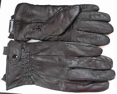 MANZELLA Women's 3M thinsulate 40g insualted leather black Gloves,size M
