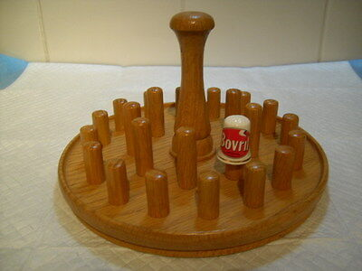 Nice Beech Turned Wood Thimble Tree Holder 24 Sewing Collectable