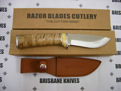 Razor Blades Red Stag Burl Wood 420C Stainless Skinning Hunting Camping Knife