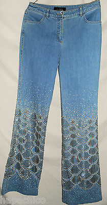 ESCADA Vintage Embroidered Sequence Blue Jeans Pants 6 HapaChico Haute Couture
