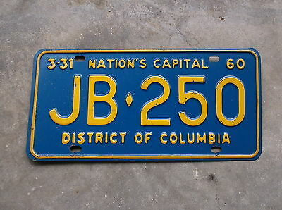 District of Columbia Washigton 1959 / 60 License Plate  #  JB - 250