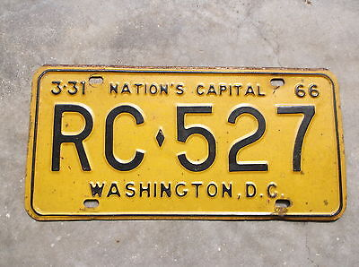 District of Columbia Washigton 1965 / 66 License Plate  # RC - 527