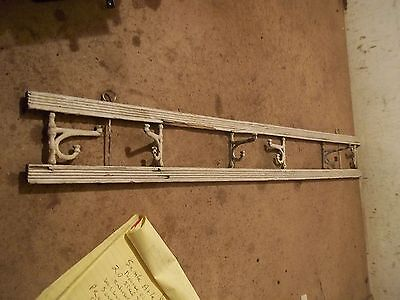 Old Wood Wall Coat Hat Rack with Cast Iron Hooks • CAD $41.59