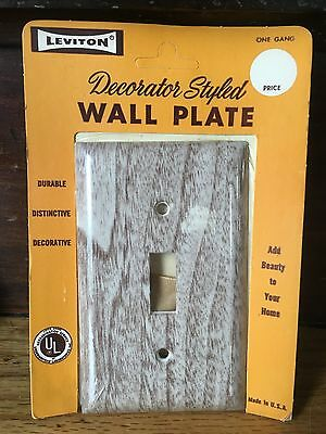 New Old Stock Leviton Faux Birch Wood Light Switch Plate Cover 1958