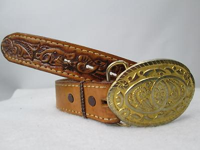 Girls Nocona Belt HEATHER Tooled name Western Brown 19-22 inch waist Gold Buckle