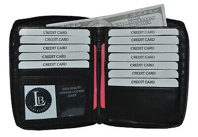 New Men's Premium leather RFID Blocking Zip around Credit card ID Wallet