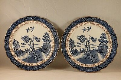 VTG BOOTHS England REAL OLD WILLOW Salad PLATES w/Gold TRIM #A8025 - 2 pcs