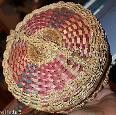 Brown ash and sweet grass vintage purple covered basket museum quality