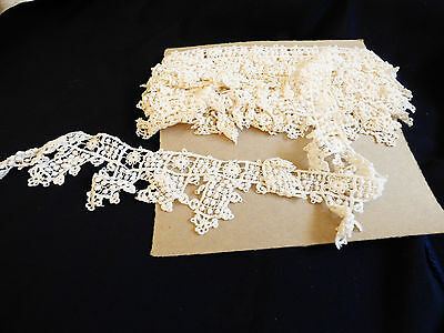 "VTG antique hand made cotton white Lace Trim 2.5"" wide 5.33 yards"