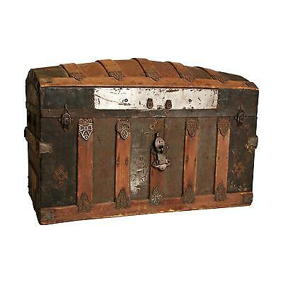 Vintage CAMELBACK TRUNK storage chest steamer train luggage antique box wooden 0