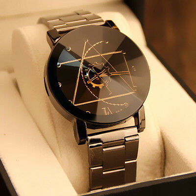 Compass Women Men Stainless Steel Watch Retro Quartz Analog Wrist Watch sy