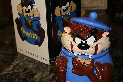 Warner Bros 1997 Taz Tazmanian Devil Cookie Jar Looney Tunes TM WB Blue Ceramic