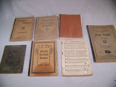 Lot of 7 Vintage Gospel Worship Revival Song Books 1910s-30s Well used