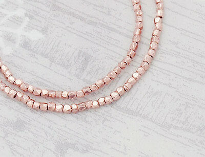 Karen hill tribe Rose Gold  Vermeil Style  170  Faceted Beads 1.3 mm.