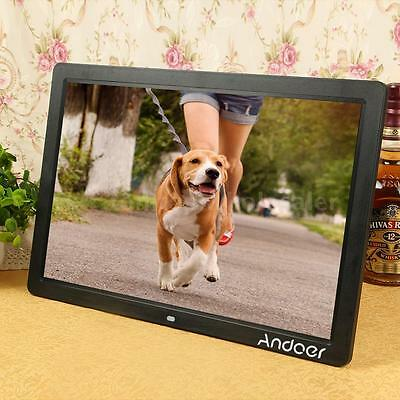 """17"""" LED Digital Photo Picture Frame High Resolution 1080P Alarm Clock MP3/4 F8Y4"""