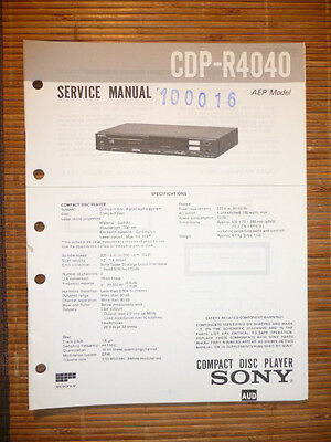 original sony service manual for the cdx 5 cd player • 14 98 service manual for sony cdp r4040 cd player original