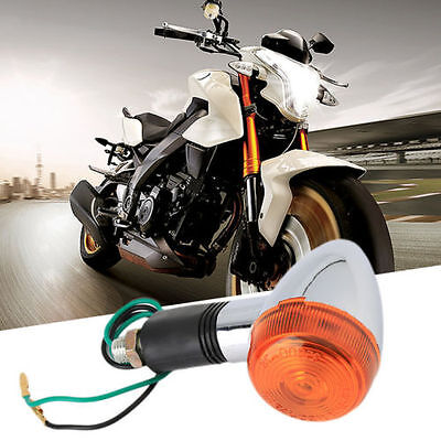 4x Metal Chrome Motorcycle Turn Signal Indicator Light Amber For Harley Chopper
