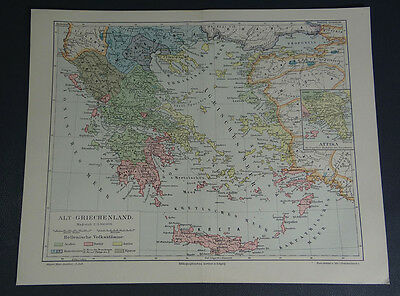 Ancient Greece Greek Hellenic Tribes Color Map ~ 1890 Antique German Print Plate