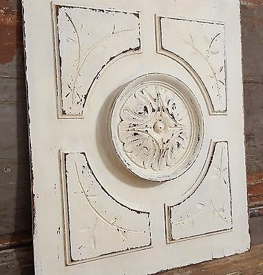 GOTHIC SHABBY WHITE PANELS 21 in ANTIQUE FRENCH HAND CARVED WOOD WALL PEDIMENT