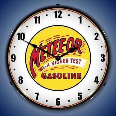 Meteeor Gasoline Led Lighted Wall Clock Advertising Vintage Style Man Cave - New