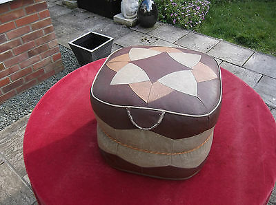 Antique Leather Foot Stool/vintage Retro 1950's 1960's Leather Foot Rest Stool.