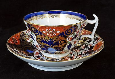 EARLY ANTIQUE DERBY IMARI PORCELAIN TEA CUP & SAUCER LONDON SHAPE c1815, PATT 23