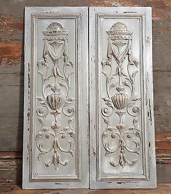 PAIR GREY SHABBY CHIC PANEL ANTIQUE FRENCH HAND CARVED WOOD PEDIMENT 19 th 23 in