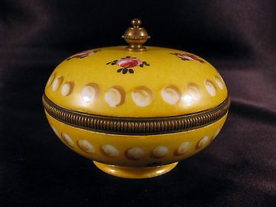 Antique Hand Painted Limoges France Porcelain Dresser Box Brass Collar & Finial