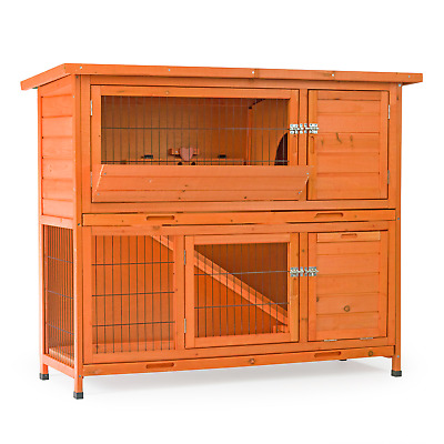 Deluxe 4Ft Large Two Tier Rabbit Hutch And Run Ferret Wooden Pet Cage Guinea Pig