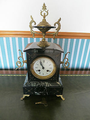 Victorian Ornate Marble Chiming Mantel Clock