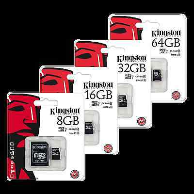 Kingston Micro SD SDHC Memory Card 45MB/s UHS-1 Class 10 & Full Size SD Adapter