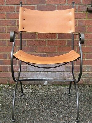 Vintage Spanish style wrought iron brown leather slung office desk elbow chair