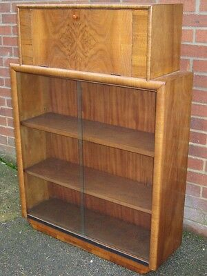 Art Deco antique figured walnut fall front cocktail cabinet glazed bookcase