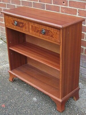 Bevan Funnell Reprodux cross banded mahogany 2 drawer adjustable open bookcase