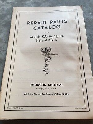 Old~Vintage~Antique Johnson Outboard Motors Repair Parts Catalog~KA KS KD