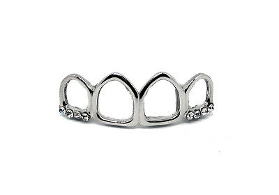 GRILLZ Silver Plated Top Row 4 Open Faced Teeth Hiphop Bling Grillz