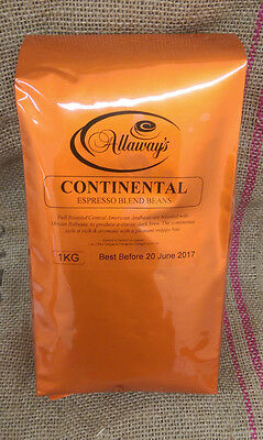 Allaway's Continental Espresso Coffee Beans 1, 3 or 6kg