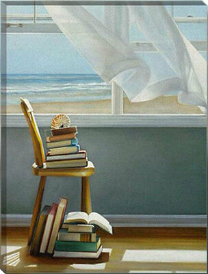 Framed Painting by Number kit Home Near The Sea Holiday Reading Chair DIY HT7003