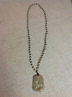 Free Shipping!! Vintage Antique Hand Carved White Beaded Jade Necklace & Pendant