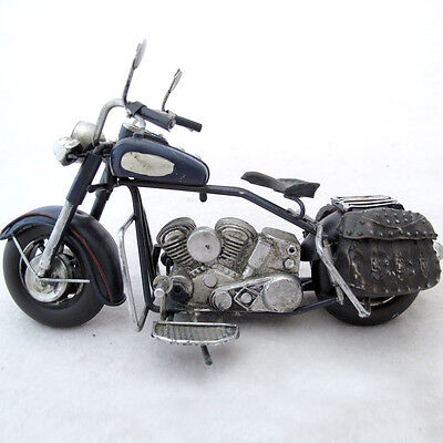 Recycled Metal Art Motorcycle Sculpture Rustic Handcrafted Mexico 7 inches long