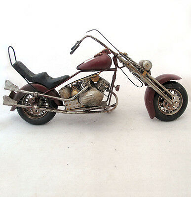 Recycled Metal Art Motorcycle Sculpture Rustic Handcrafted Mexico 17 inches long
