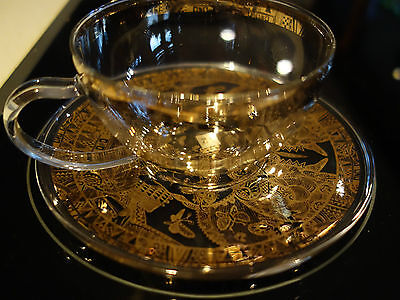 Lavish T2 Design ! Contemporary Gold Ladies In Hats Glass Cup /saucer