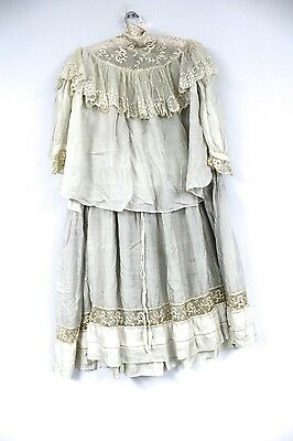 Vintage Antique Womens 2 PC Victorian Dress Dove Gray  Colored Silk Small 1890s
