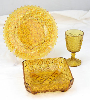 Antique 3pc EAPG Daisy & Button Amber Glass Square Bowl Goblet Round Plate L7Y