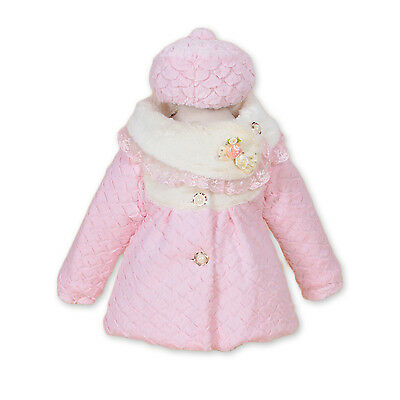 New Girls Pink Faux Fur Long Sleeves Coat with Hat 2-3 Years