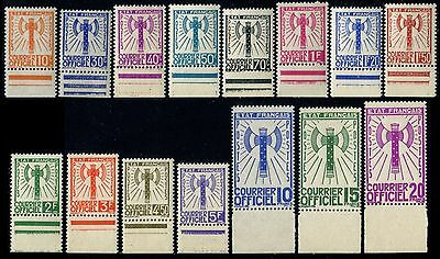 Lot N°4141a France Service N°1/15 Série Francisque Neuf ** LUXE