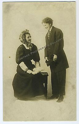 Antique Real Photo Postcard Woman Dressed As Man Stage Theater Actors Crossdress