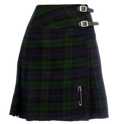 "New Ladies Scottish Black Watch 20"" Knee Length Kilt Range of Tartans Size 6-28"