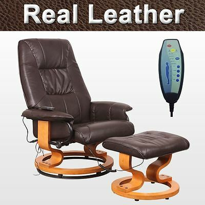 TUSCANY REAL LEATHER BROWN SWIVEL RECLINER MASSAGE CHAIR w FOOT STOOL ARMCHAIR